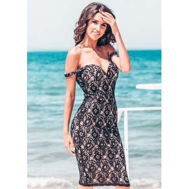 Lace Lover Midi Dress (Black)
