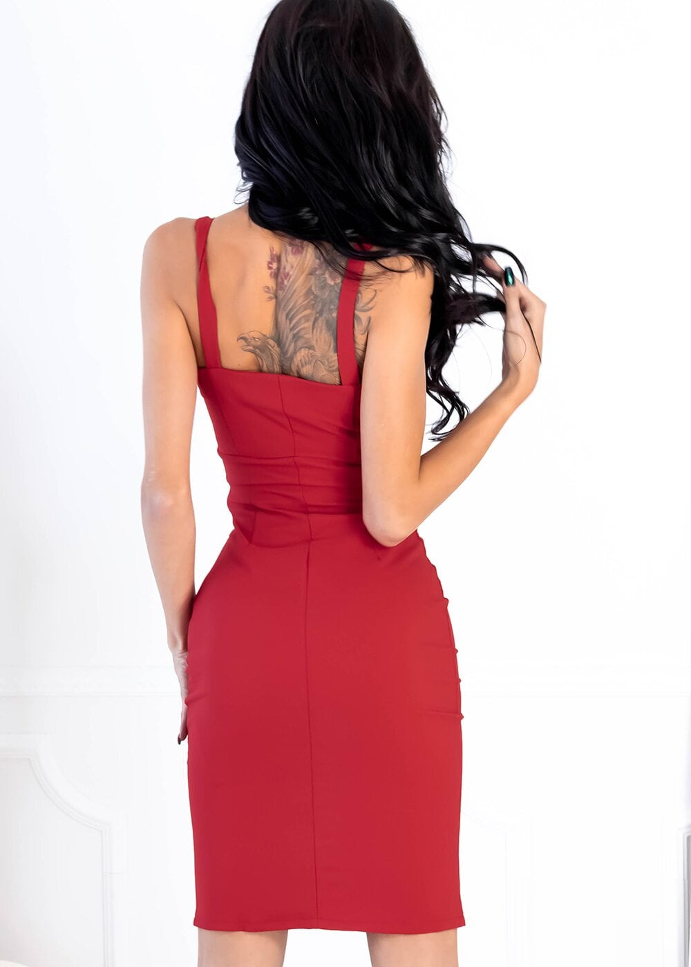 Buttoms Midi Dress (Red)