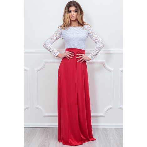 Only Tonight Maxi Dress (White/Red)