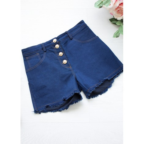 Denim Buttoms Shorts (Navy)