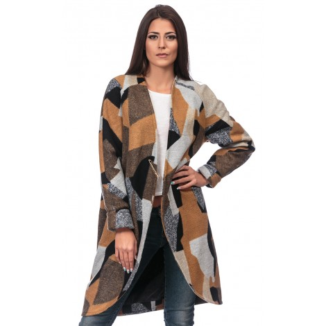 Spectacular Stamped Coat (Brown)