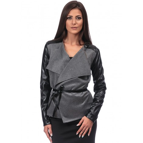 Jacket With Leather Sleeves (Grey)