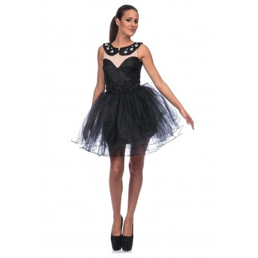Pearl Mini Dress (Black)