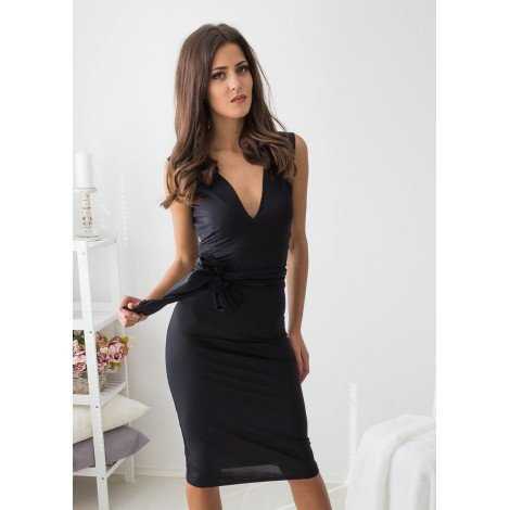 Skyfall Midi Dress (Black)