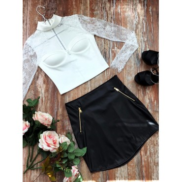 So Bright Leather Skirt (Black)