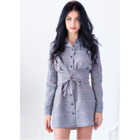 Kelly Gingham Mini Dress (Grey)