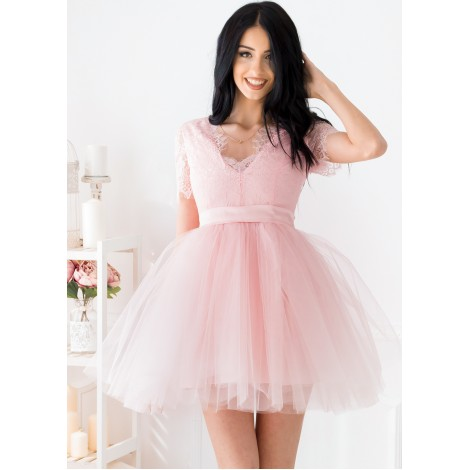 Lorraine Mini Dress (Blush)