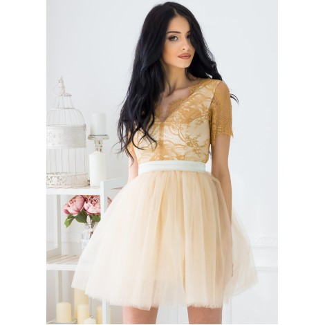 Lorraine Mini Dress (Gold)