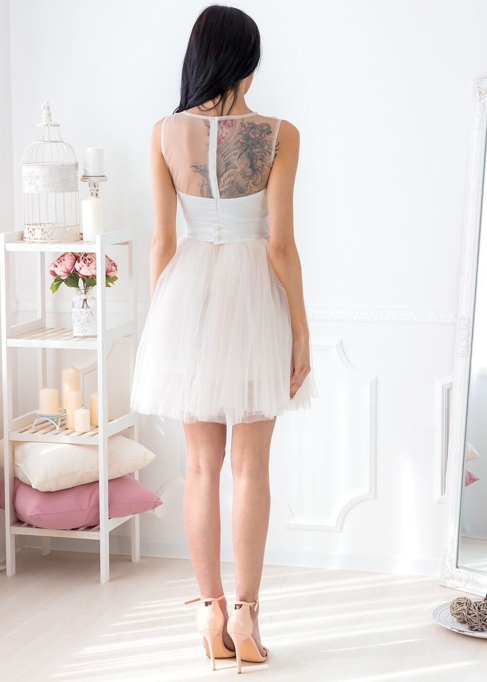 Mabelle Mini Dress (Ivory/Peach)