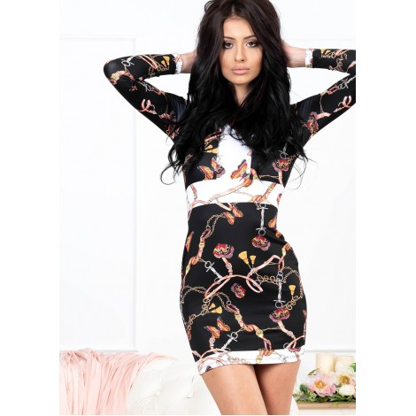 Butterfly Mini Dress (Black/Pattern)