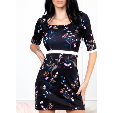 Winter Flower Mini Dress (Black/Floral)