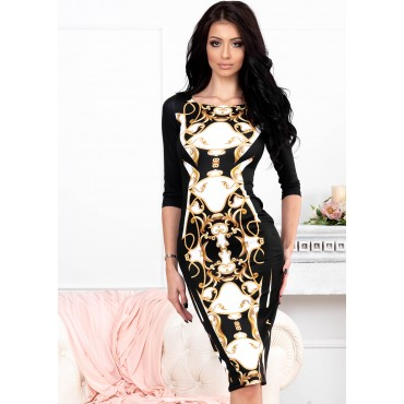 Theodora Midi Dress (Black/Baroque)