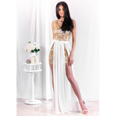 Angela Mini Dress (Gold/Ivory)