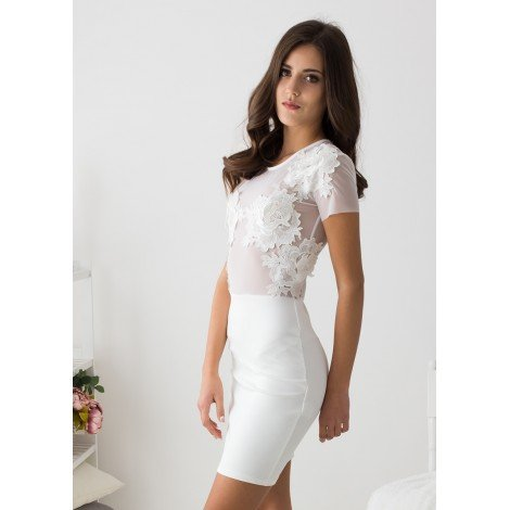 Lost in Flowers Mini Dress (White)