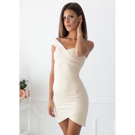 Too Much Time Mini Dress (Beige)