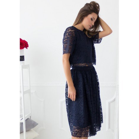 Delorra Lace Flared Skirt (Navy)