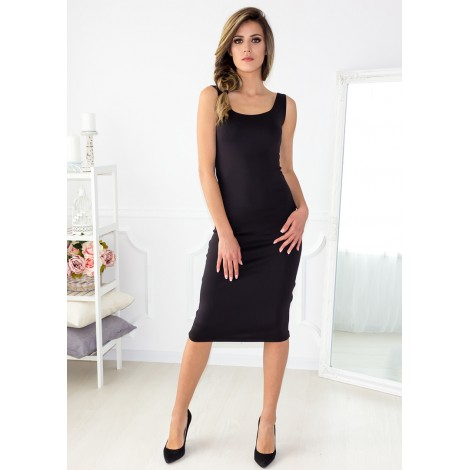 Moving On Midi Dress (Black)