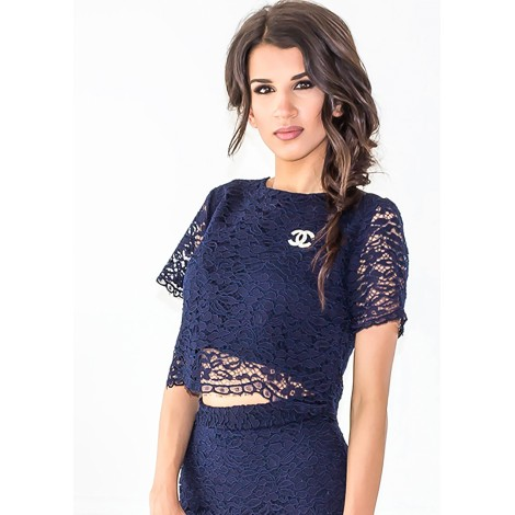 Delorra Lace Top (Navy)
