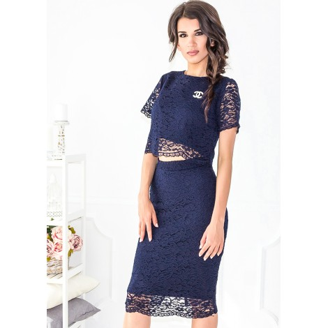 Delorra Lace Skirt (Navy)