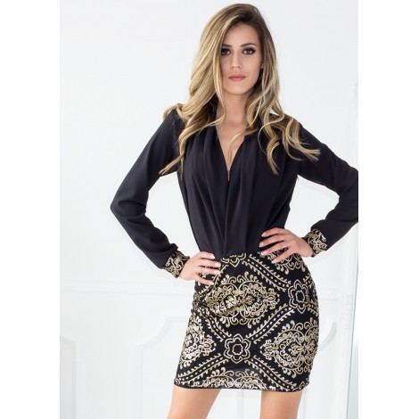 Golden Girl Mini Dress (Black)
